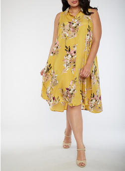 Plus Size Sleeveless Floral Dress - 9475056124236