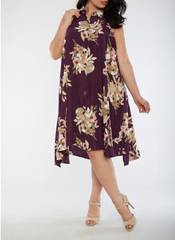 Plus Size Sleeveless Floral Dress - 9475056124237