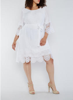 Plus Size Gauze Knit Peasant Dress with Crochet Trim - 9475056124549