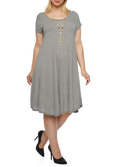 Plus Size Cutout Back T-Shirt Dress with Stripe Print and Necklace - 9475058931109