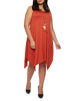 Plus Size Jersey Dress with Handkerchief Hem and Removable Necklace - 9475058931111