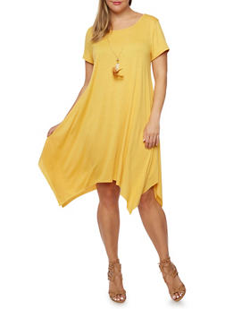 Plus Size Jersey Dress with Removable Necklace - 9475058931112