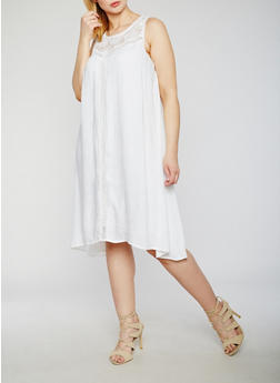 Plus Size Sleeveless Dress with Crochet Insert - WHITE - 9475063509115