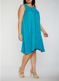 Plus Size Sleeveless Dress with Crochet Insert - 9475063509115