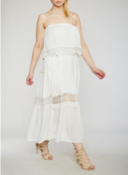 Plus Size Strapless Maxi Dress with Crochet Trim - WHITE - 9475063509117