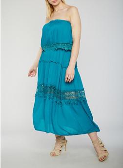 Plus Size Strapless Maxi Dress with Crochet Trim - 9475063509117