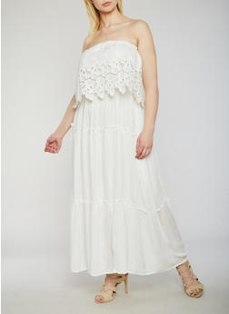 Plus Size Strapless Maxi Dress with Crochet Overlay - WHITE - 9475063509118