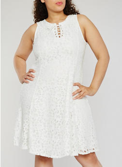 Plus Size Sleeveless Lace Up Skater Dress - WHITE - 9475064462947