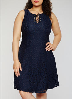 Plus Size Sleeveless Lace Up Skater Dress - NAVY - 9475064462947
