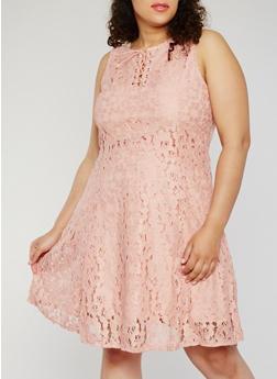 Plus Size Sleeveless Lace Up Skater Dress - 9475064462947