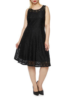 Plus Size Skater Dress in Floral Lace - 9475064465731