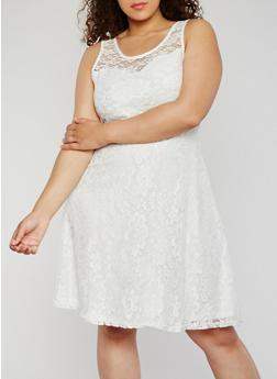 Plus Size Sleeveless Lace Skater Dress - NATURAL - 9475064467352