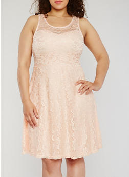 Plus Size Sleeveless Lace Skater Dress - 9475064467352