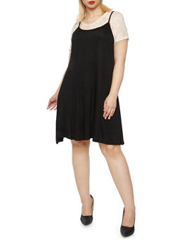 Plus Size Layered Tank Dress with Lace Top - BLK/BLUSH - 9475072241371