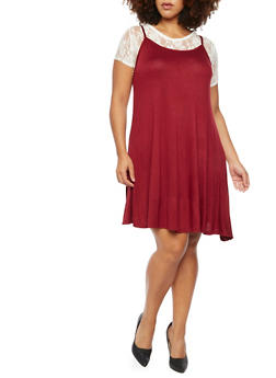Plus Size Shift Dress with Lace Top - 9475072241371