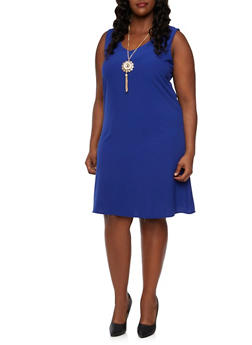 Plus Size Midi Shift Dress with Removable Necklace - 9475073521458