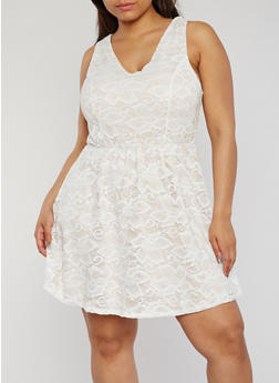 Plus Size Lace V Neck Skater Dress - 9475073551205