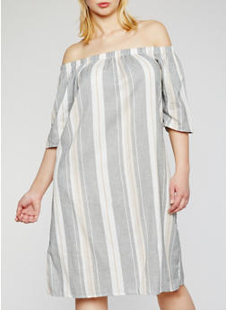 Plus Size Off the Shoulder Striped Dress - 9476020623356