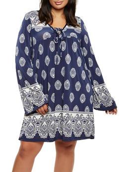 Plus Size Paisley Print Midi Dress - NAVY - 9476020623465