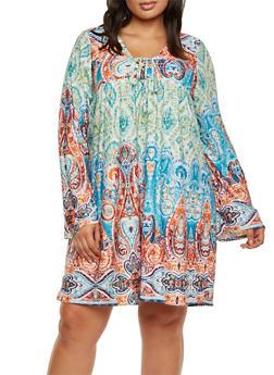 Plus Size Paisley Print Midi Dress - CORAL - 9476020623465