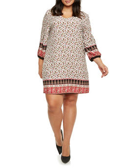Plus Size Printed Shift Dress with V-Neck - 9476020623956