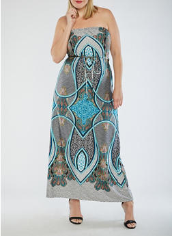 Plus Size Paisley Strapless Maxi Dress - 9476020624455