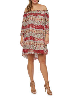 Plus Size Off the Shoulder Dress in Mixed Print - 9476020624456