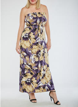 Plus Size Floral Strapless Maxi Dress - 9476020624645