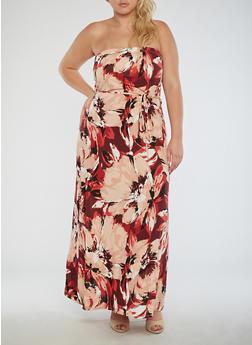 Plus Size Floral Strapless Maxi Dress - 9476020624645