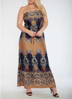Plus Size Strapless Printed Maxi Dress - 9476020624811