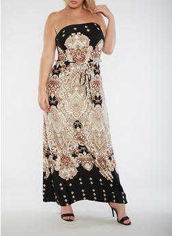 Plus Size Strapless Printed Maxi Dress - 9476020624812
