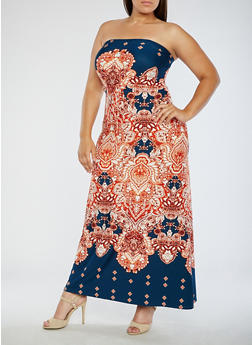 Plus Size Strapless Printed Maxi Dress - 9476020624812