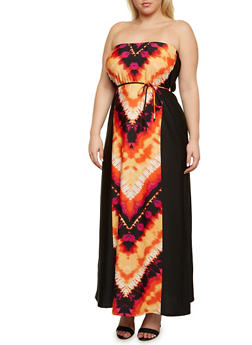 Plus Size Strapless Maxi Dress in Abstract Print - 9476020625544
