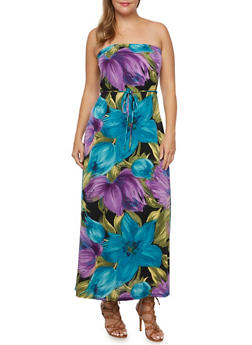 Plus Size Strapless Maxi Dress with Tropical Print - 9476020625548
