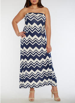 Plus Size Chevron Print Tube Maxi Dress - 9476020625588