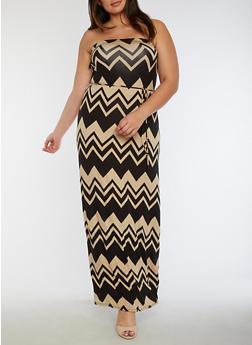 Plus Size Chevron Print Tube Maxi Dress - 9476020625588