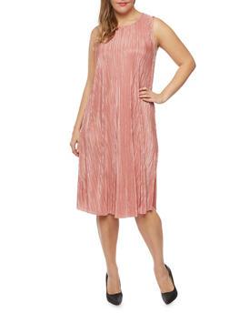 Plus Size Sleeveless Crinkle Shift Dress - MAUVE - 9476020626526