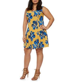 Plus Size Floral Skater Dress with V Neck - 9476020626965