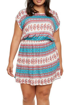 Plus Size Printed Dress with Elastic Waist - 9476020627658