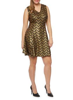 Plus Size Sleeveless Swing Dress in Chevron Print - 9476020628256