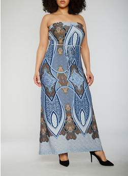 Plus Size Strapless Paisley Print Maxi Dress - 9476020628445