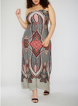Plus Size Strapless Paisley Print Maxi Dress - 9476020628445