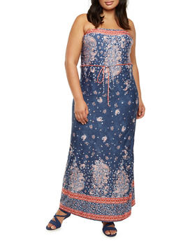 Plus Size Strapless Maxi Dress in Paisley Print - 9476020628554