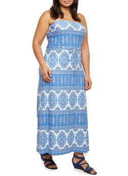 Plus Size Strapless Maxi Dress in Medallion Print - 9476020628556