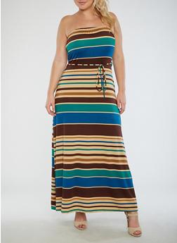 Plus Size Striped Strapless Maxi Dress - 9476020628561