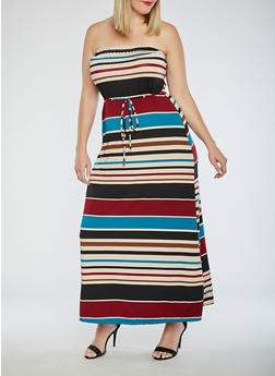 Plus Size Striped Strapless Maxi Dress - 9476020628561