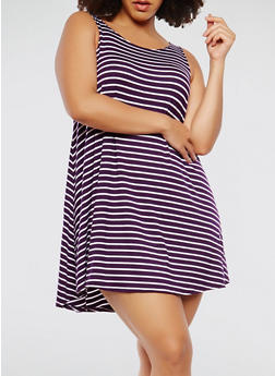 Plus Size Striped Trapeze Dress - 9476020628809