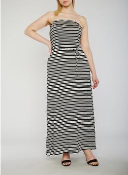 Plus Size Strapless Striped Maxi Dress - 9476020629848