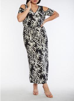 Plus Size Printed Cold Shoulder Maxi Dress - 9476056124483