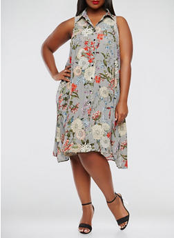Plus Size Striped Floral Trapeze Dress - 9476056125370